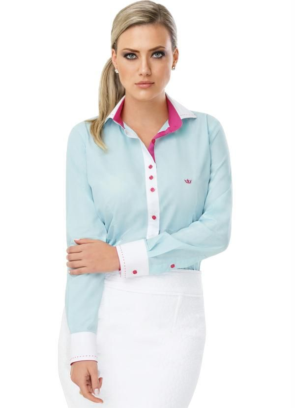 40d4ee9cd1 Camisa Feminina Manga Longa Azul Principessa - Principessa Camisaria ...
