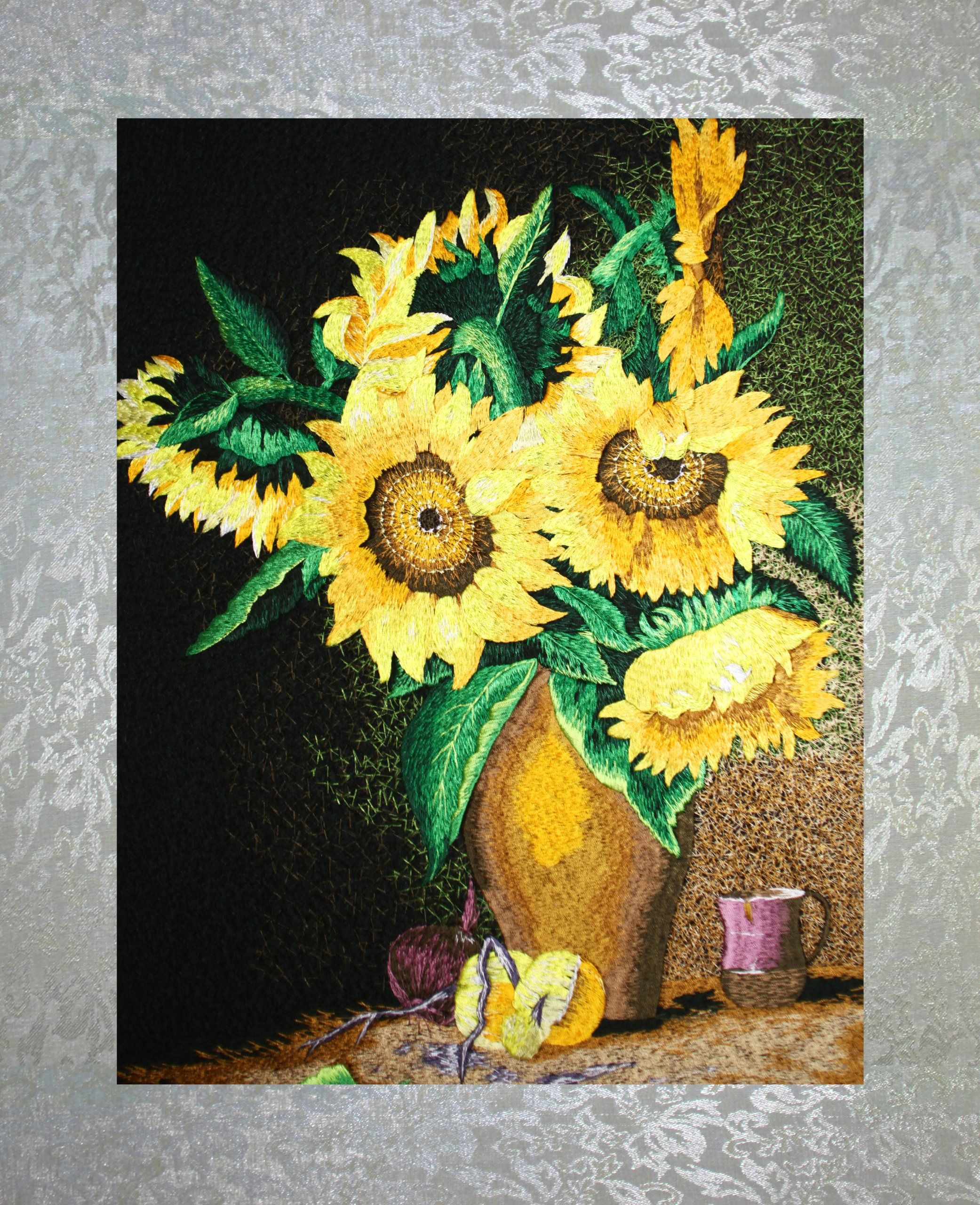 PEA Designs, Sunflowers in Vase Wall Décor, Chinese Su Embroidery ...