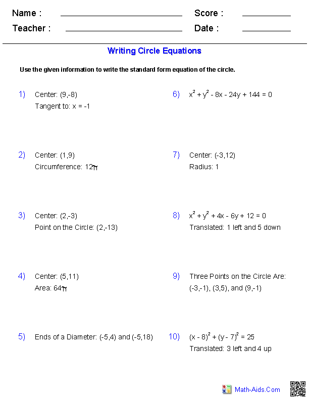 {Writing Equation of Circles Worksheets MathAidsCom – Equations of Circles Worksheet