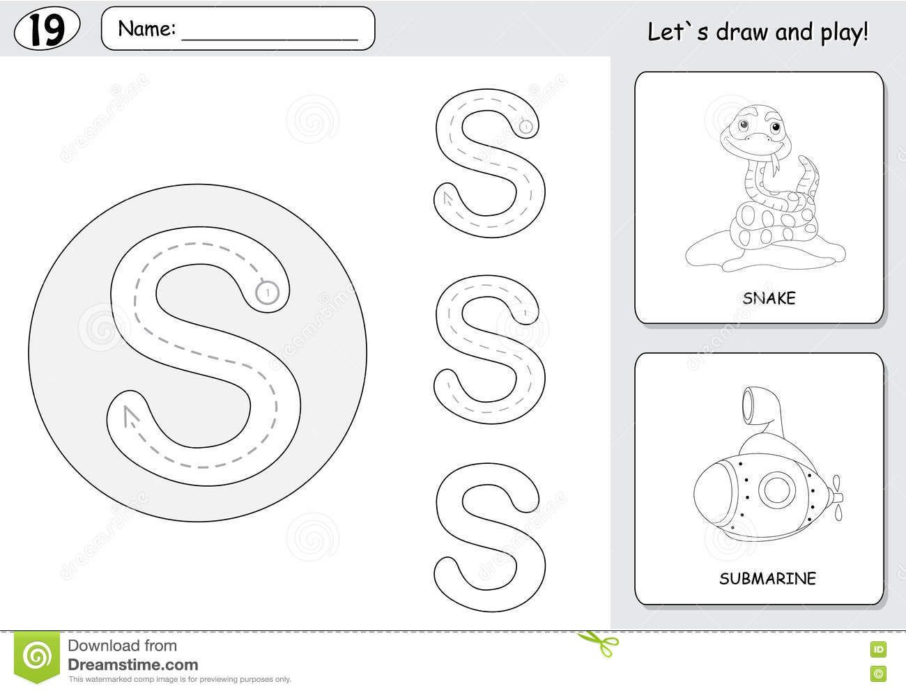 Cartoon Snake And Submarine Alphabet Tracing Worksheet
