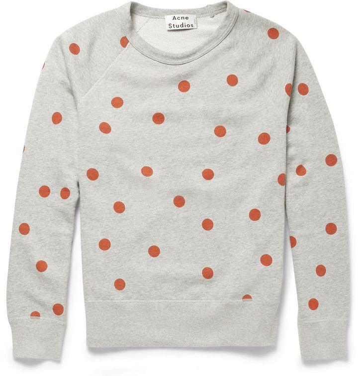 Acne Studios College Dot Printed Cotton-Jersey Sweatshirt