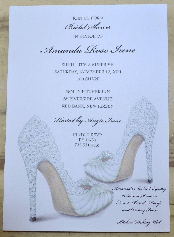 BRIDAL SHOWER INVITATIONS Shoe Theme Bridal Shower Bridal Shower