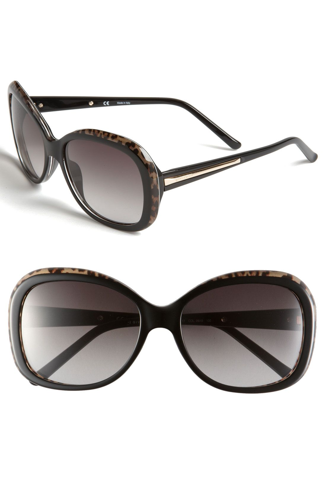 Givenchy Round Sunglasses in Black (black leopard/ gradient grey)