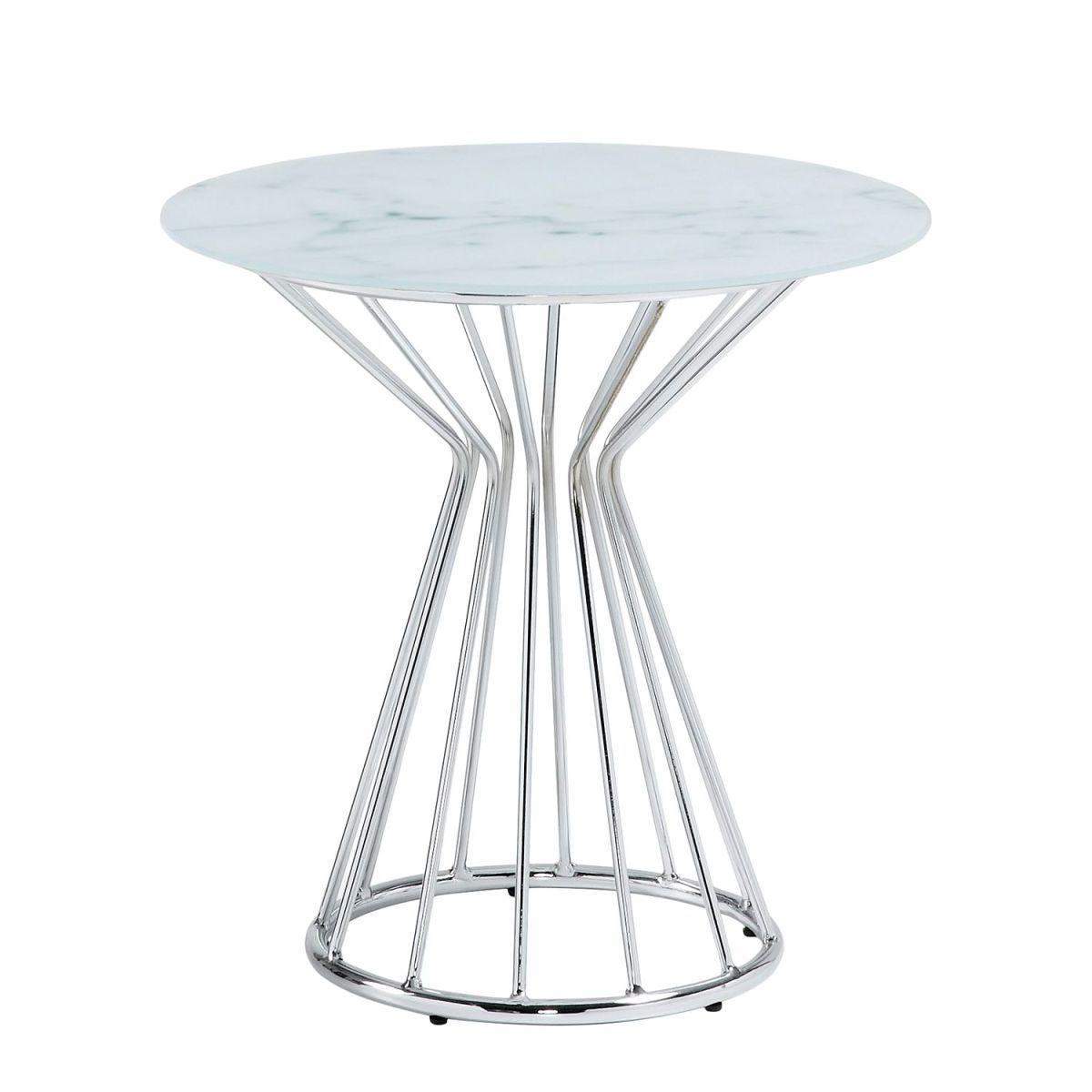 Beistelltisch Kayenta - Glas / Stahl - Marmor Dekor / Chrom ...