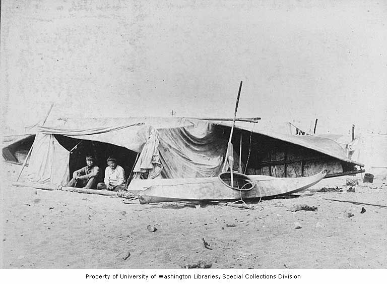 Umiak Skin Boat Upside Down Inuit Alaska 1906