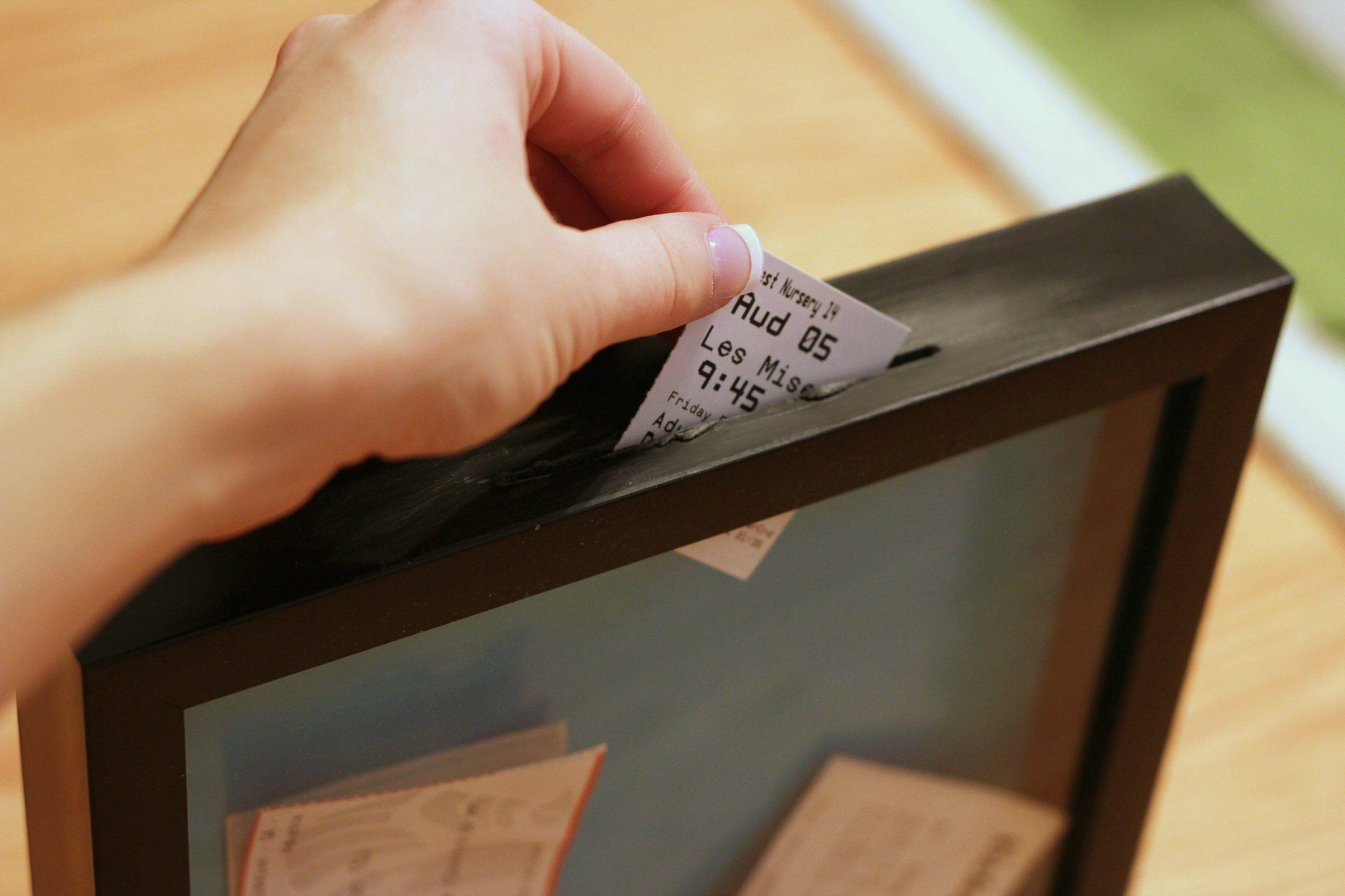 use dremel to cut slit in top of store bought shadow box frame to create ticket stub display - Diy Shadow Box Frame