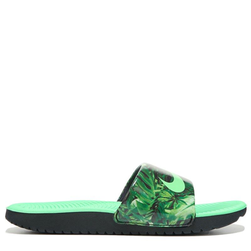 5cb15d85d3091b Nike Kids  Kawa Print Slide Sandal Pre Grade School Sandals (Black Electro  Green) - 4.0 M