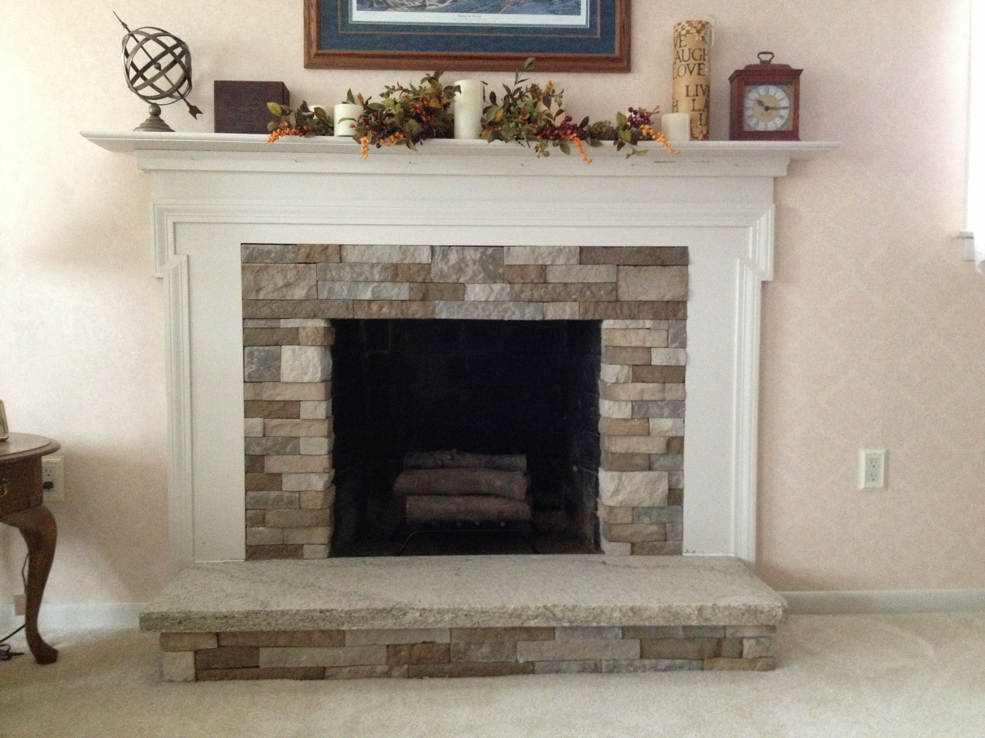 Airstone fireplace trendy airstone fireplace with for Gel fuel fireplaces pros and cons