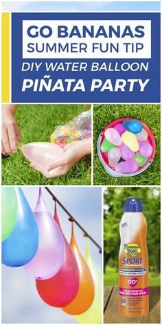 Here's a backyard blast that'll have everyone laughing—water balloon piñatas! 1) Grab and fill colorful water balloons. 2) Tie them to a long piece of string, and hang at eye level. 3) Take turns blindfolding each other & swinging at the balloons. 4) SPLASH! Don't forget to cover up with Banana Boat® sunscreen for summer fun in the sun. Parents: Please read all product warnings & safety information before use.We do not sponsor, recommend or endorse any 3rd party product referred to on this…