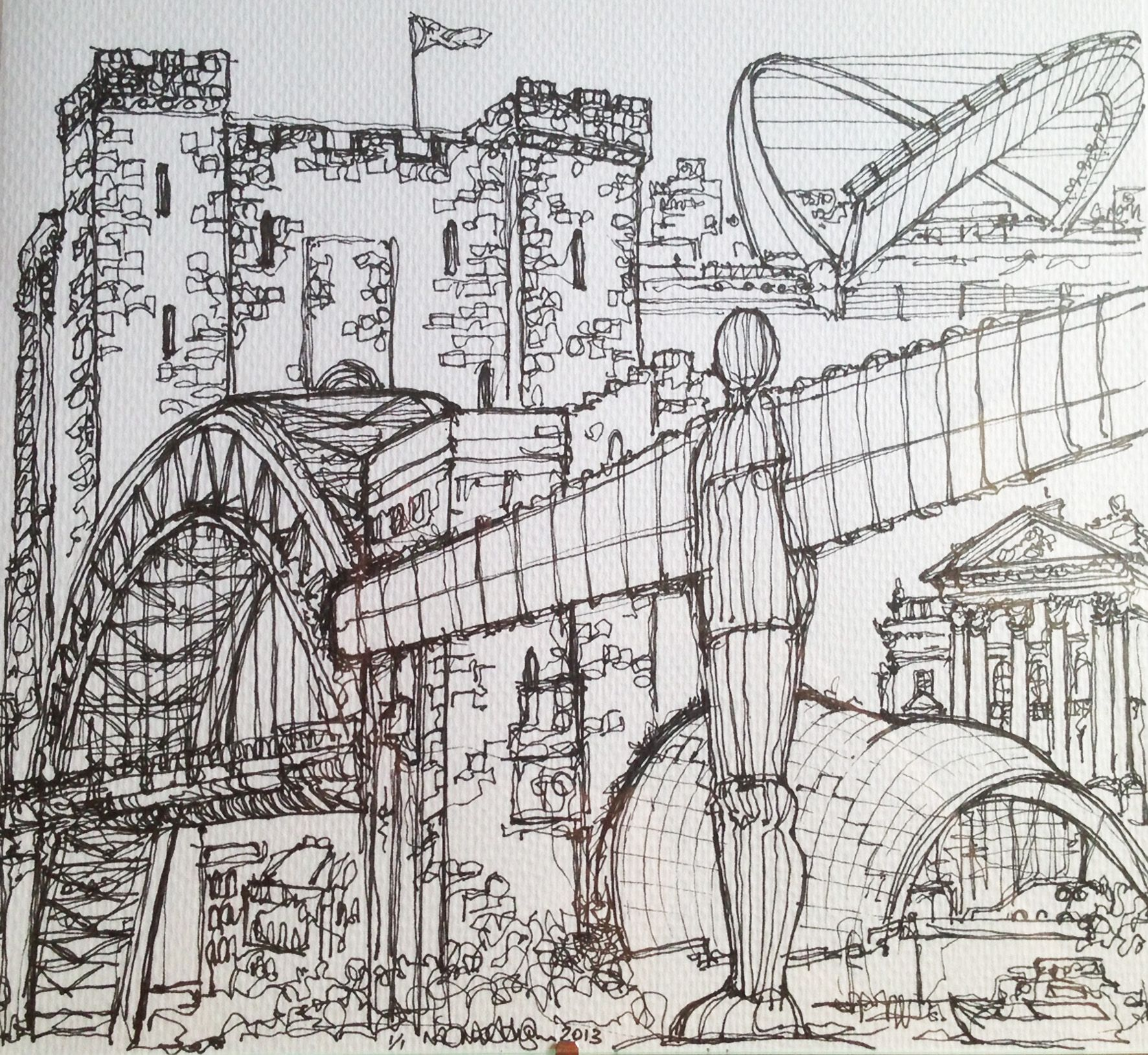 Newcastle Gateshead C Naomi Austin 2013 Sketch Book Newcastle Town Newcastle Gateshead