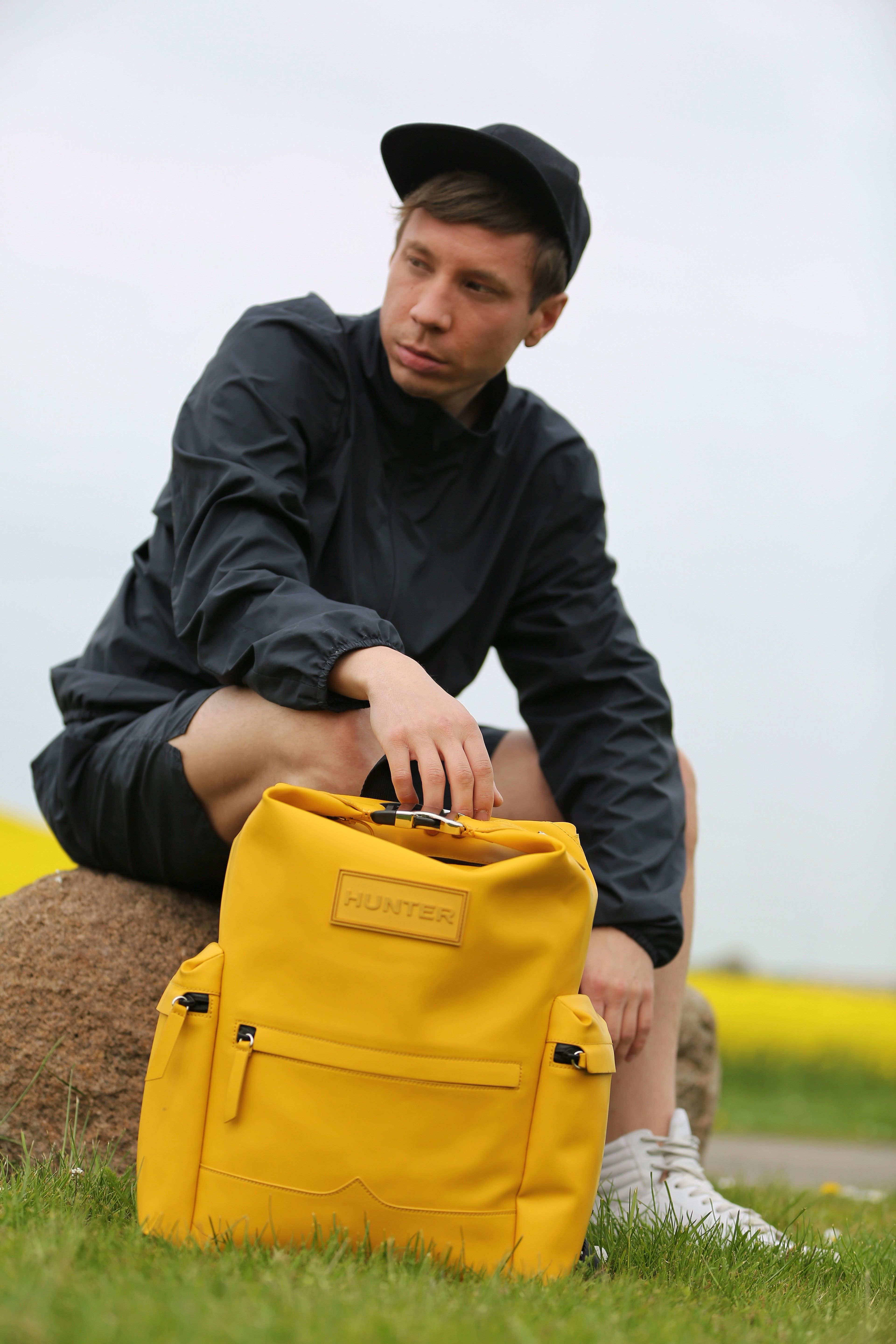 231232cded2e1 Hunter Original Rubberised Leather Backpack in Yellow worn by Thomas  Falkenstedt.