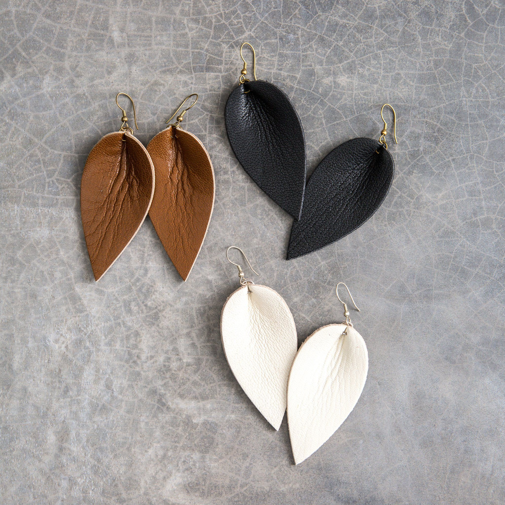 zia earrings | magnolia, leather earrings and leather jewelry