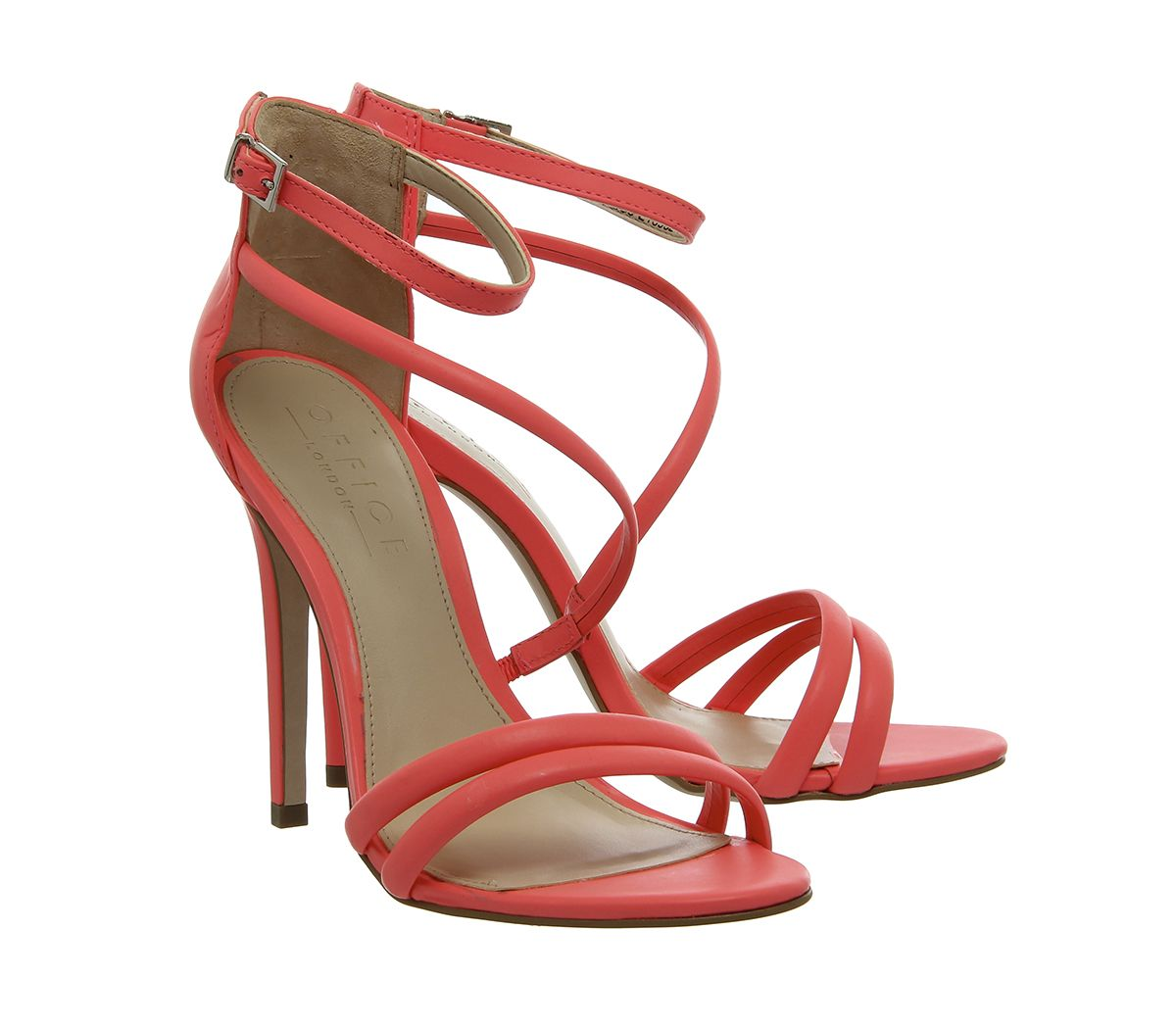 851074dd6 Office Sophia Strappy Sandals Fluro Coral Leather - High Heels