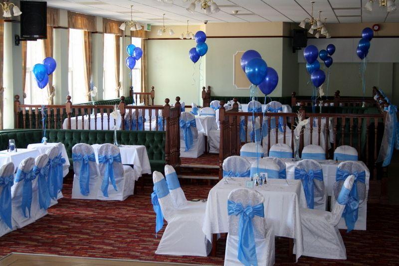 Wedgewood Blue Taffeta Sashes With White Table Linen Sashes