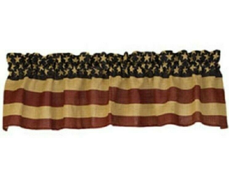 Flag Valance Window Curtains Burlap Dark Red Navy Tan 72 W Patriotic Americana Unbranded Countryfarmhouseprimitiverustic In 2020 Burlap Curtains Valance Curtains