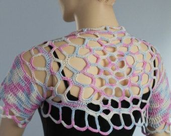 Lace Crochet  Cotton Hot  Pink  Shrug Bolero / by levintovich