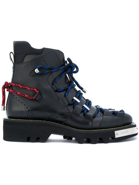 Dsquared2 Black Toe Cap Lace-Up Boots