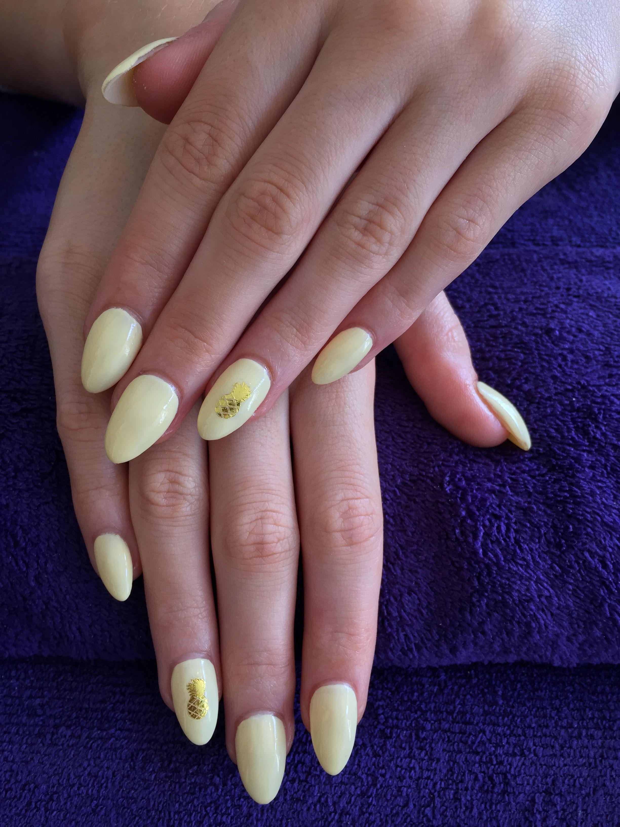 Lemon Yellow Acrylics With Shellac And Pineapple Nailcal By Diy Nails Diy Nails Nails Shellac