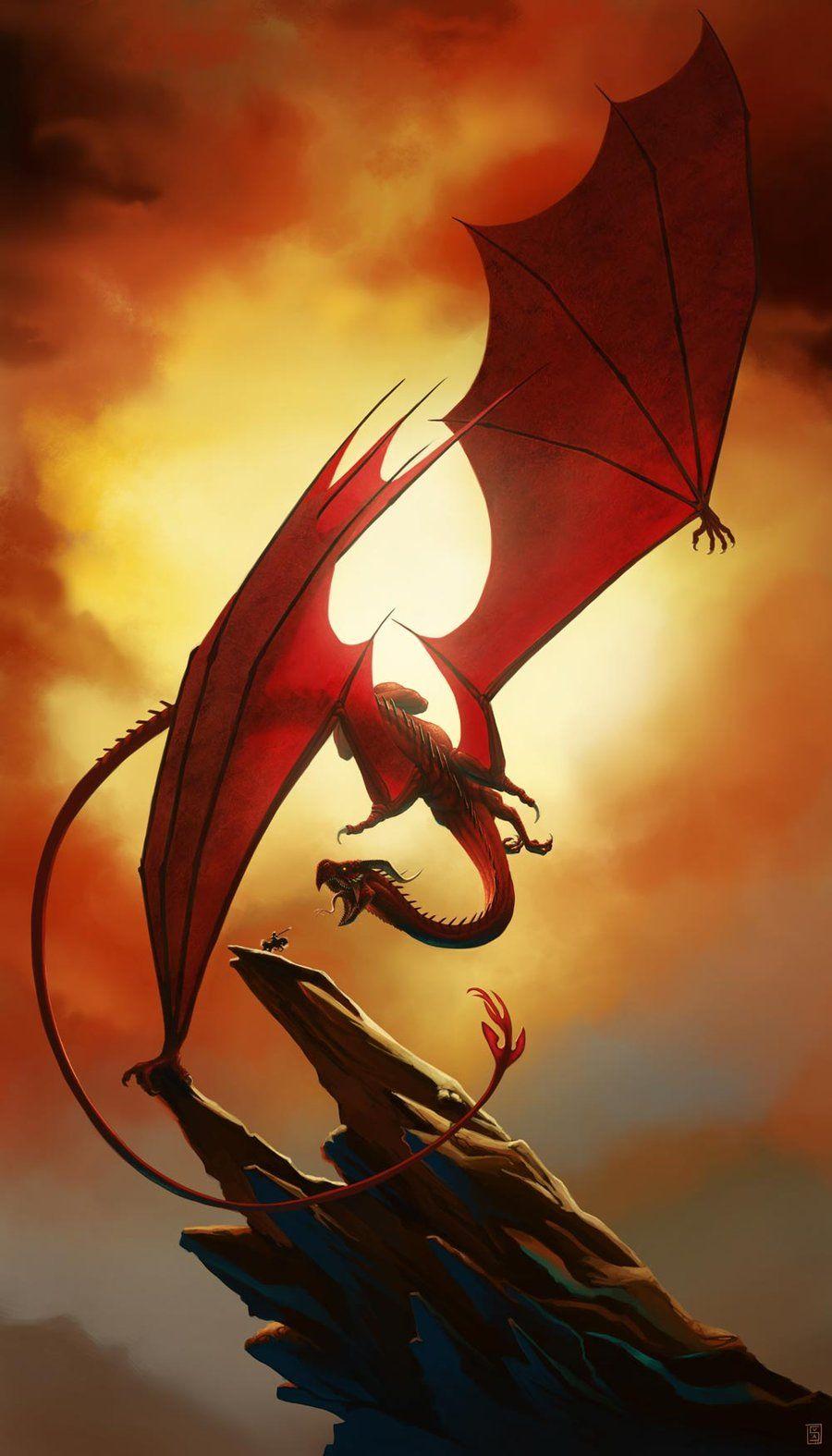 夕日の綺麗な空に映える赤いドラゴンの壁紙