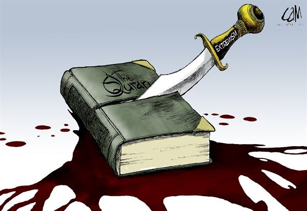 Cam Cardow - Cagle Cartoons - Extremisim Butchering the Qu'ran COLOR - English - Islam, Muslim, Islamic, Koran, Quran, extremism, radicalism, radicalized