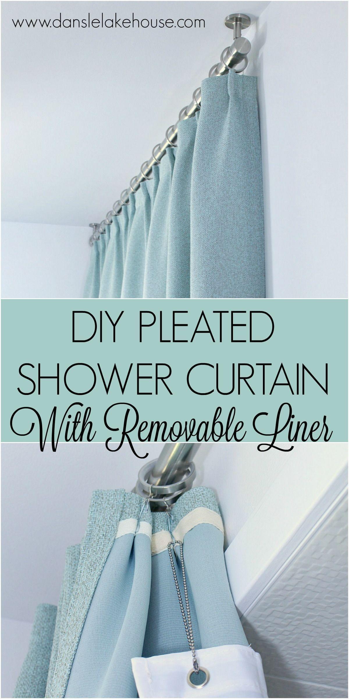 Bathroom Update Ceiling Mounted Shower Curtain Rod Diy Pleated