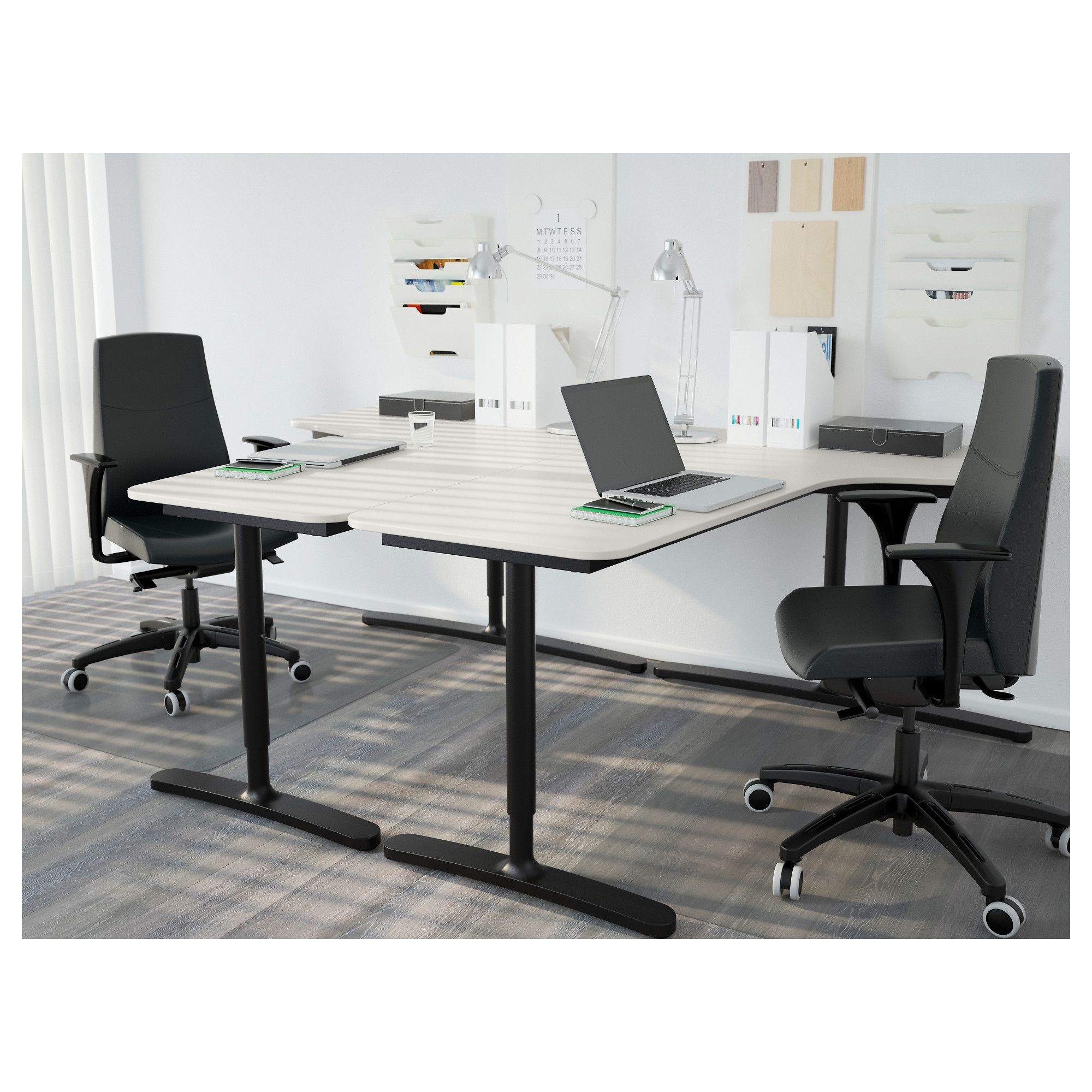 Bekant Corner Desk Right White Black Ikea Front Office Furniture Home Office Furniture Cheap Office Furniture