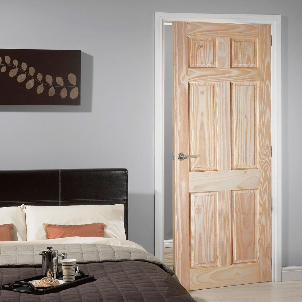 6 Panel Pine Door With Raised Fielded Panels