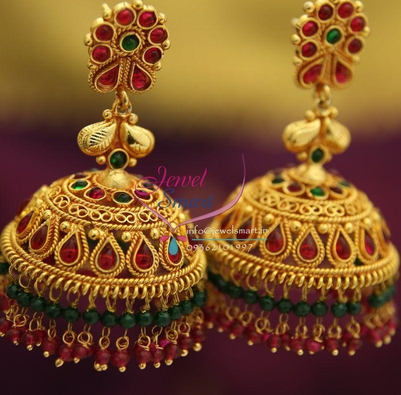 1f50c53d1f broad-grand-temple-kempu-ruby-emerald-beads-hangings-dulhan-jhumka-buy- online…