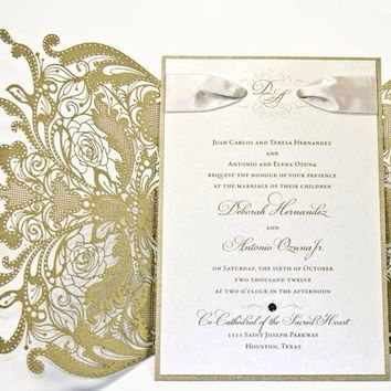 100 Vintage Lace Floral Wedding Invitation The Great Gatsby