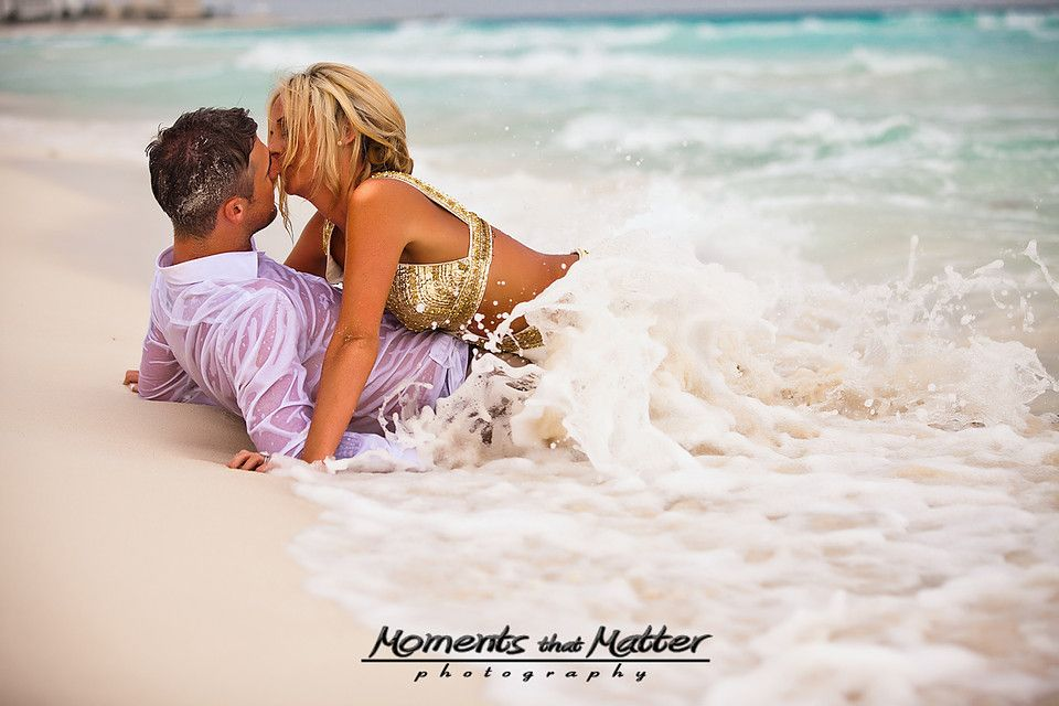 Waves crash down on our love. Trash the Dress.  Le Blanc all inclusive beach wedding in Cancun! Moments That Matter Photography Playa del Carmen Wedding Photographer.  We capture weddings in the Riviera Maya from Cancun to Tulum!