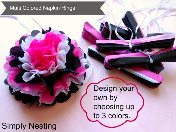100 Multi Colored Tissue Paper Napkin Rings, Choose your own colors #papernapkins