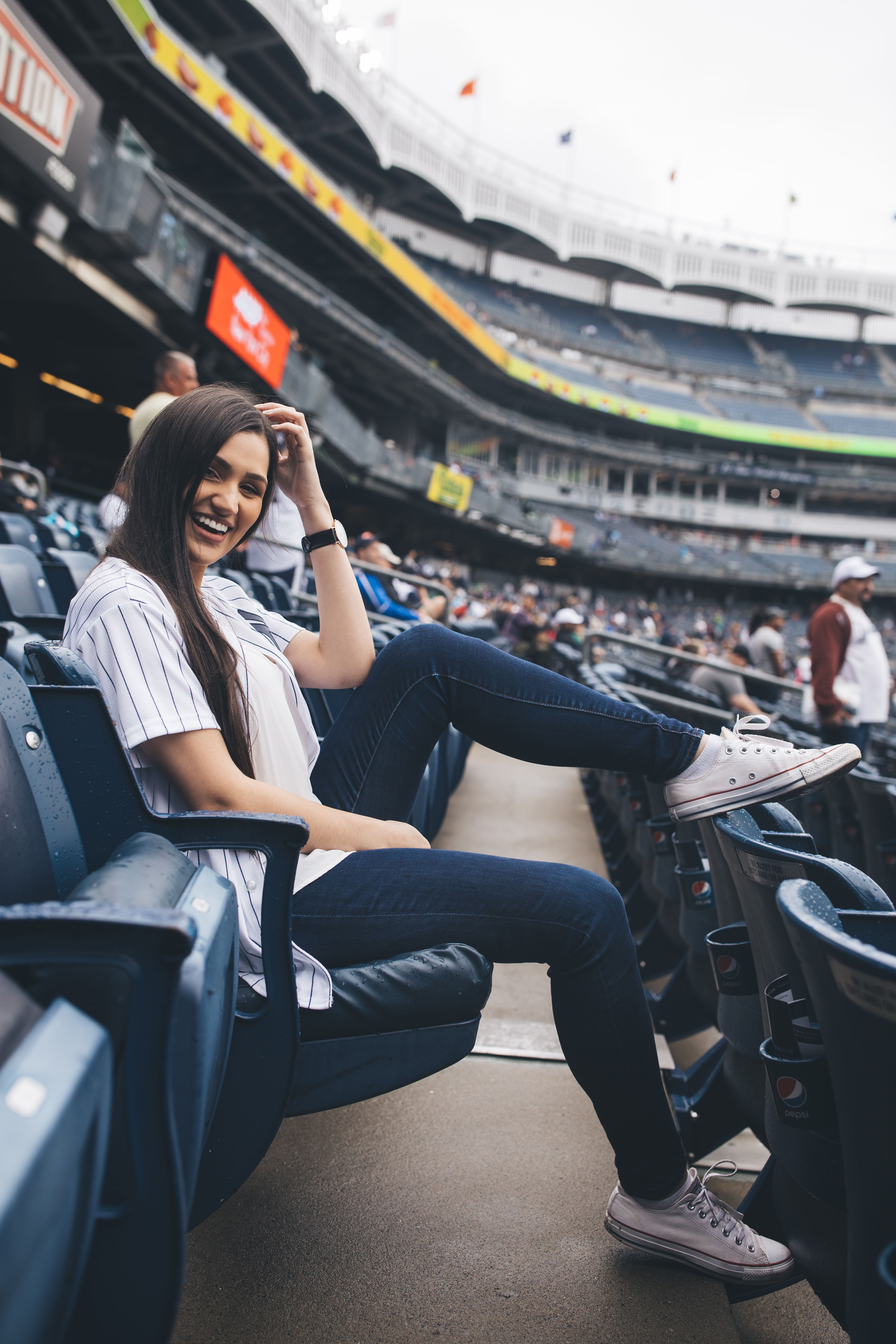 Baseball game outfit inspiration. Yankee Stadium in New