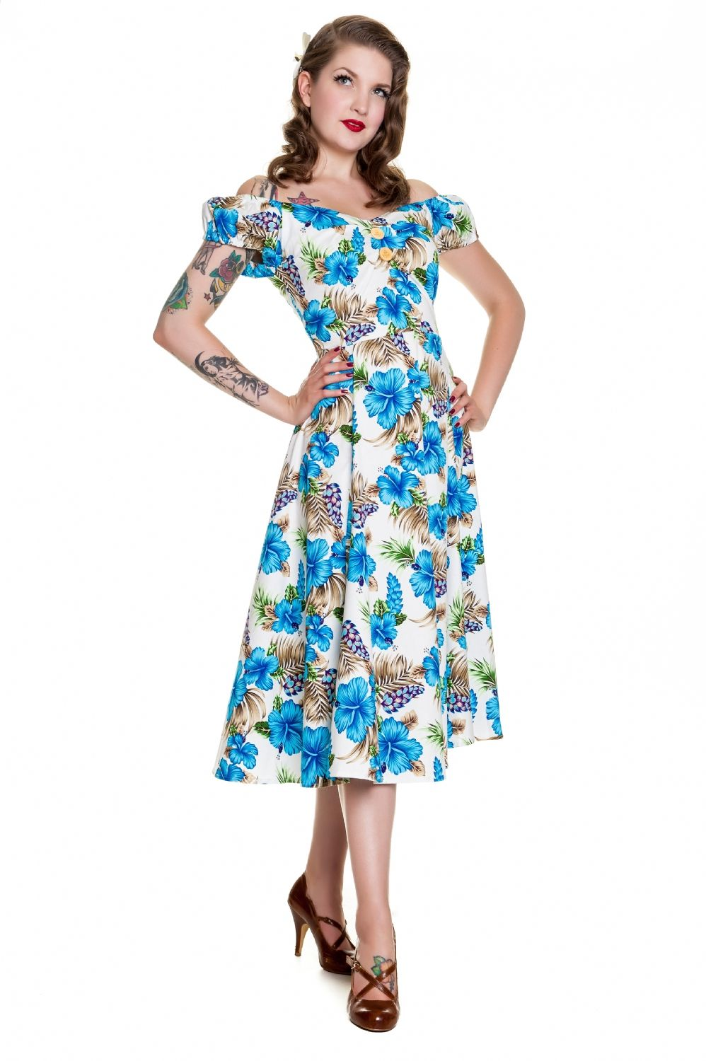 Collectif Flared Dresses Hawaiian Dolores Doll Blue Hibiscus Dress ...