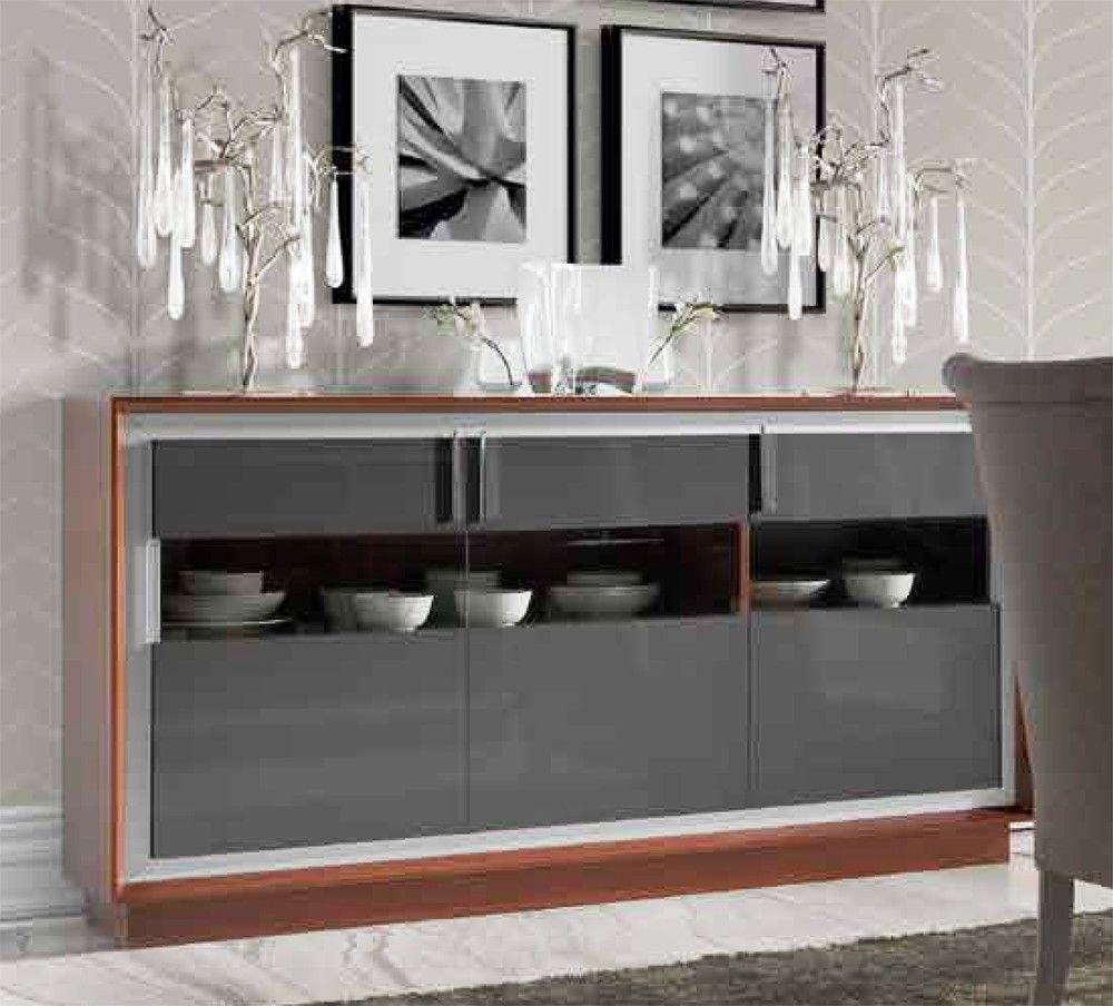 Aparador Moderno Con 3 Puertas Con Madera Y Cristal Y Realizado En  # Muebles Vajilleros Modernos