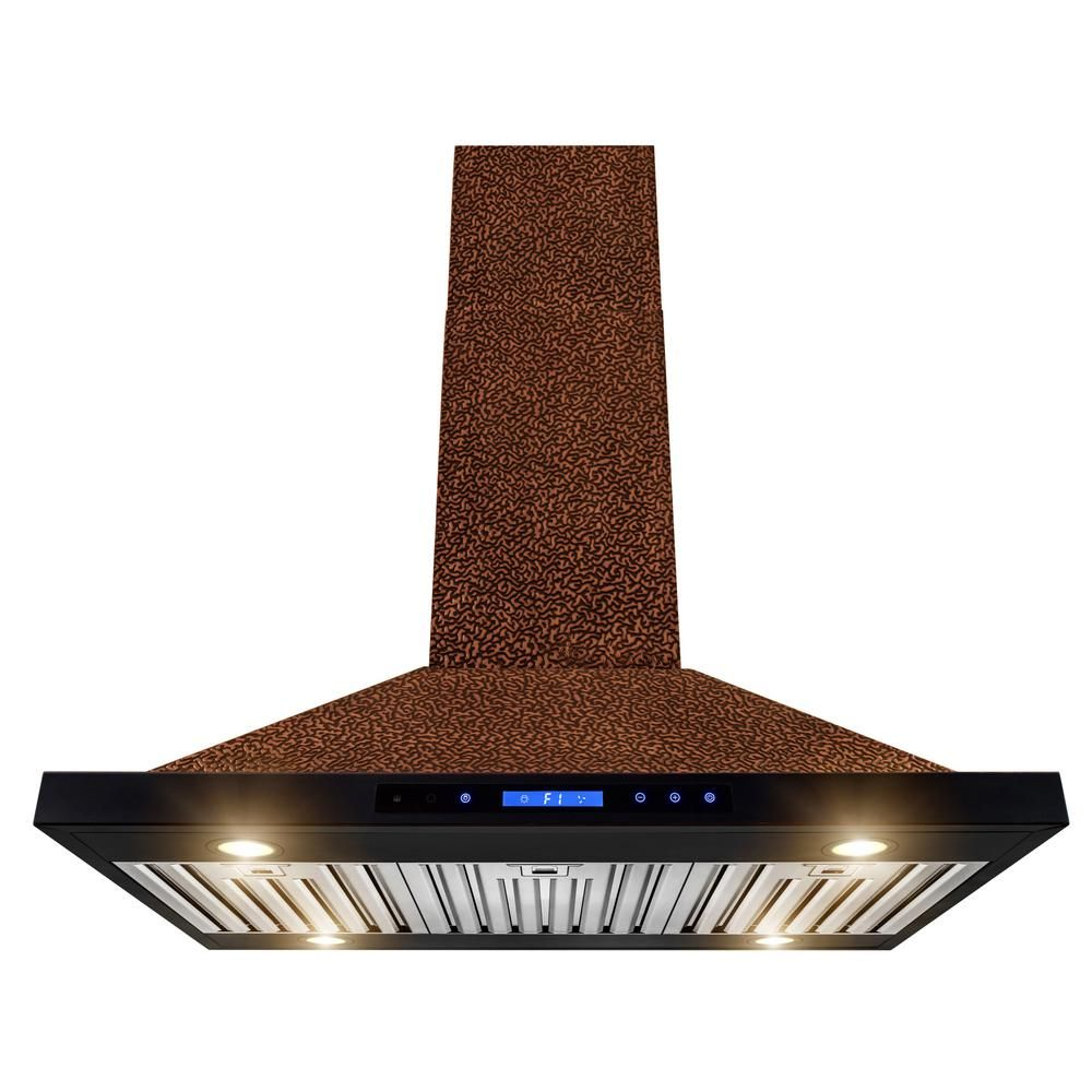 AKDY 36 in. Convertible Kitchen Island Range Hood in Embossing Copper with Halogen and Touch Panel-RH0380 - The Home Depot