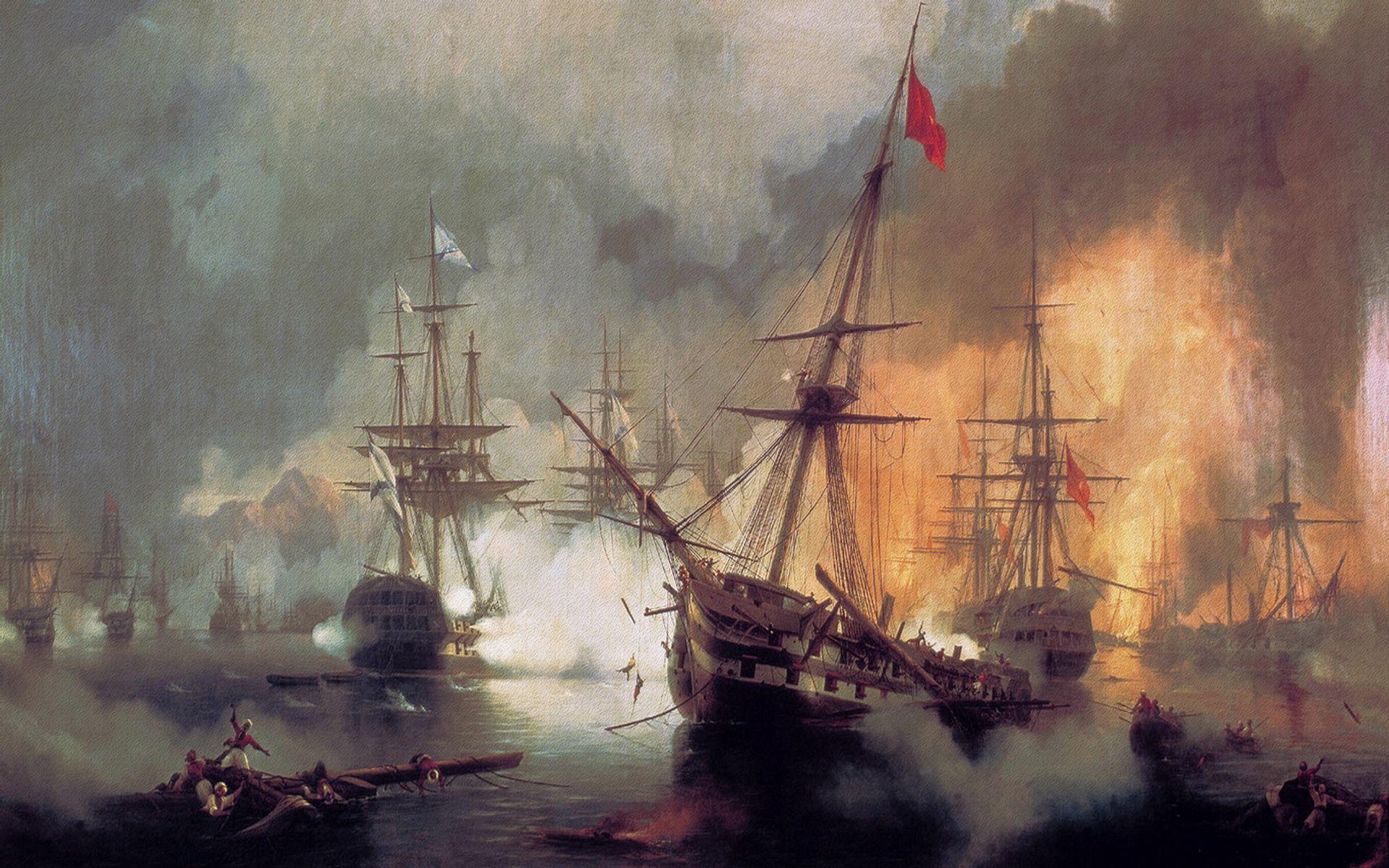 Battle Pirates Fire Oil Painting Hd Wallpapers Desktop
