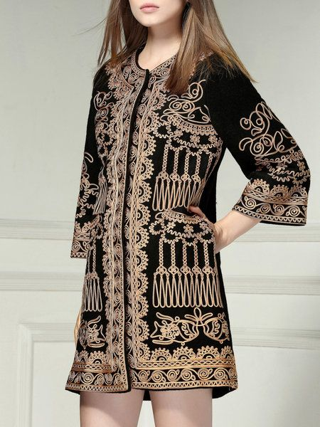 Vintage Embroidery 3/4 Sleeve Long Coat