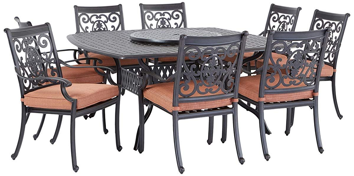 Cast Aluminum 10 Piece Dining Set With Seat Cushions Square Dining Tables Dining Set Patio Furniture Sets