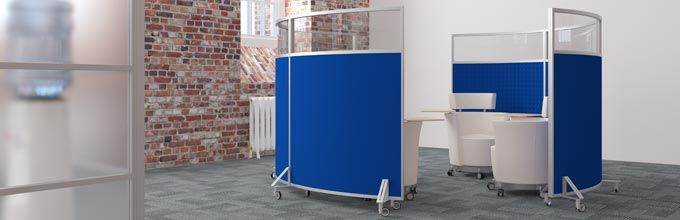 Curved Mobile Office Screens On Castors Dividers Library Furniture Dream