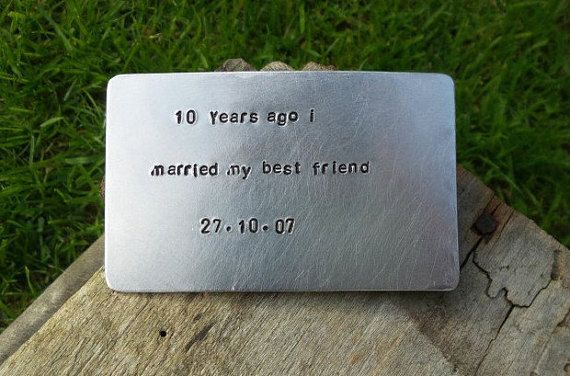 10 Years Ago I Married My Best friend Wallet Insert Handmade Bespoke Gifts for Men Him Tin Romantic Forever Aluminium Anniversary FREE POST