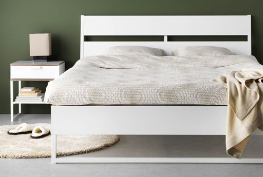 Bright, modern TRYSIL bedroom furniture, featuring a bedside table