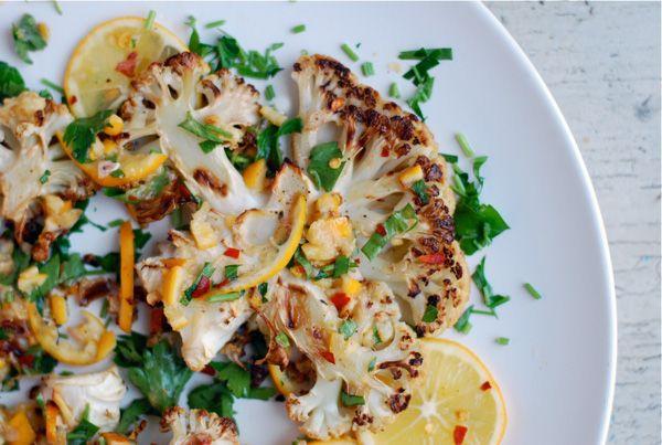 roasted cauliflower steaks with meyer lemon relish