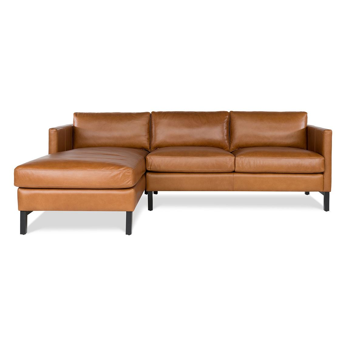 Atelier 2 Seat Leather Modular Sofa With Left Chaise Saddle ...