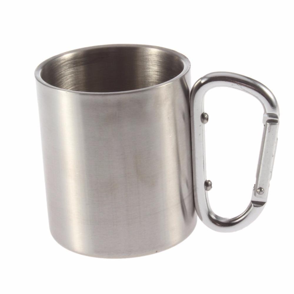 Carabiner Camping Cup Edelstahl, Becher und Stahl