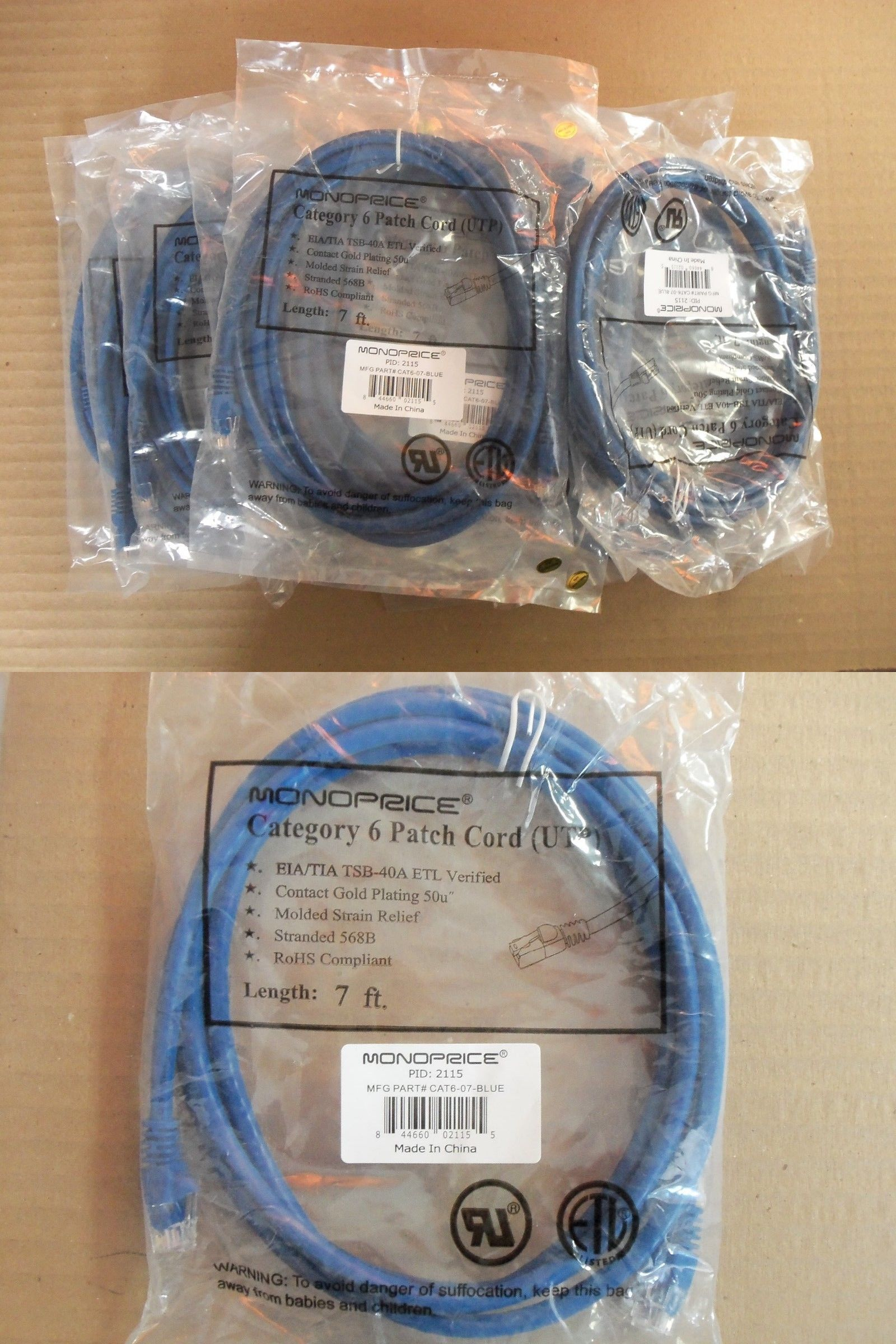 Dsl Phone Cables Rj 11 67857 New Lot Of 55 Monoprice Category 6 Patch Cord Utp Cat6 07 Blue 7ft Buy It Now Only 125 On Patch Cord Monoprice Phone Cables