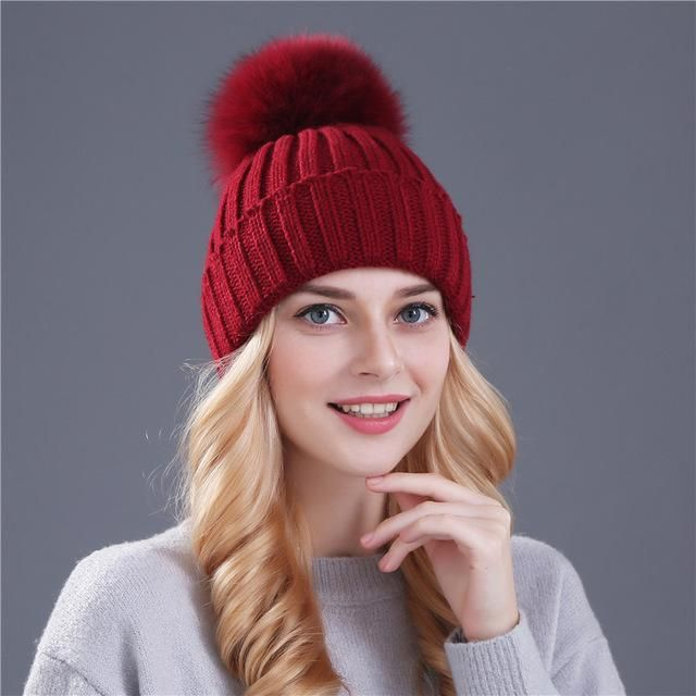 3892bd83b Mink and fox fur pom pom winter hat | Products | Beanie hats for ...