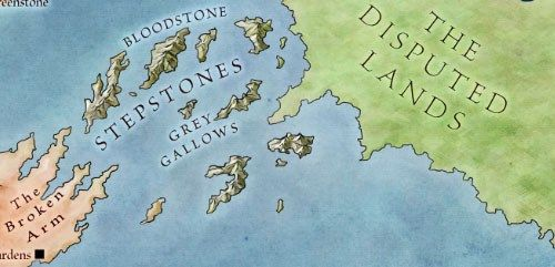 Stepstones from map of The West for Game of Thrones