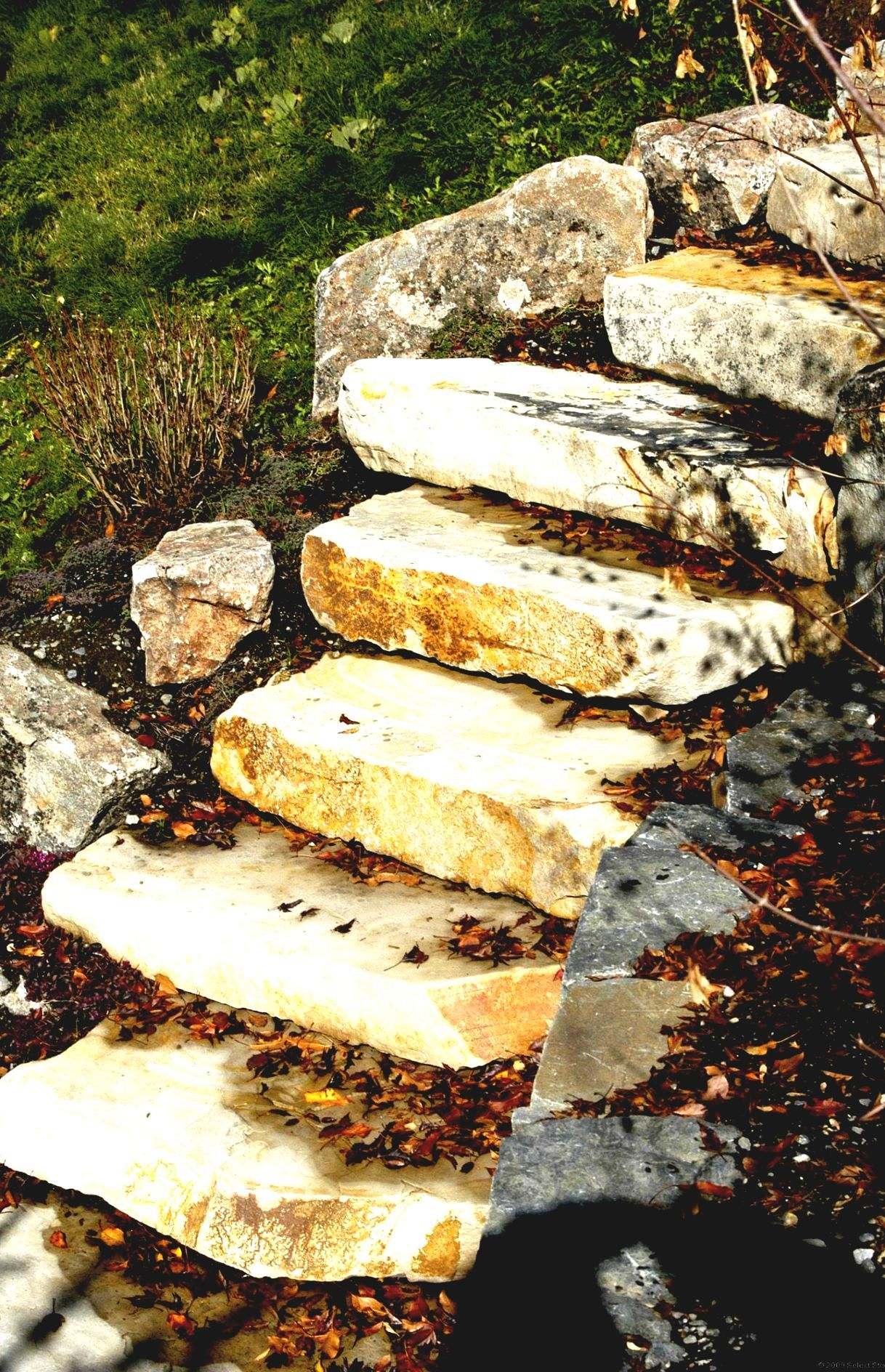 Fancy Landscape Stairs With Timbers For Rock Landscaping Ideas On A ...