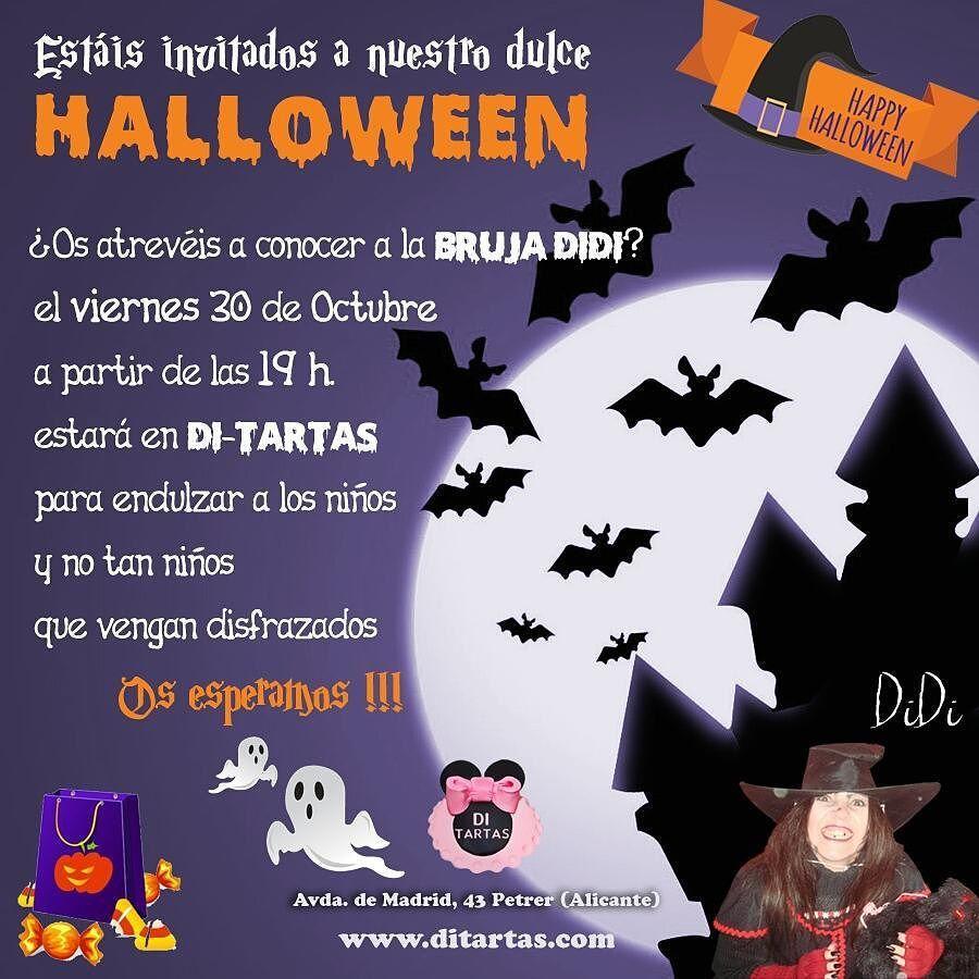 Mañana por la tarde a partir de las 19h. Estáis todos invitados a pasar por @di_tartas para celebrar nuestro dulce #halloween eso sí habrá sorpresa para los que vayan disfrazados...