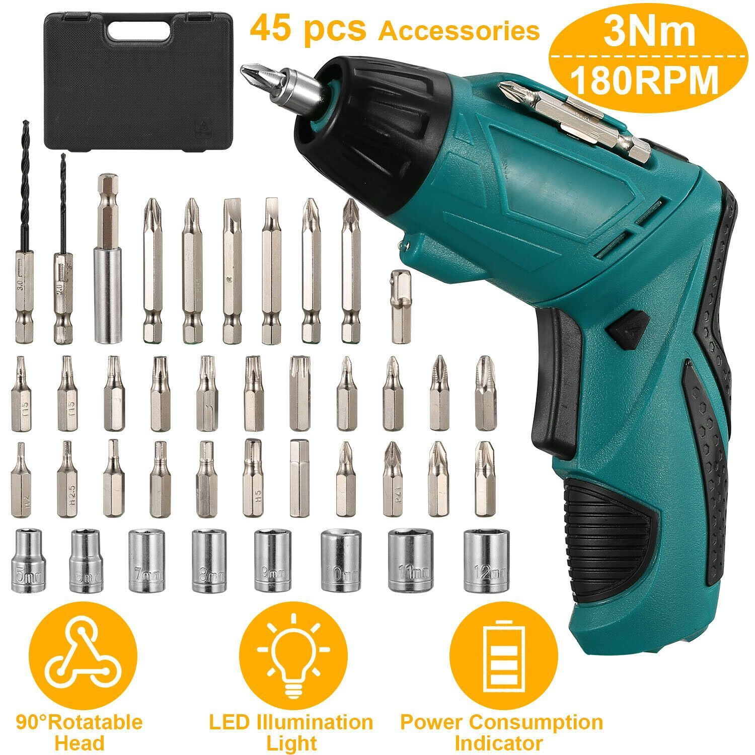 Photo of Electric Cordless Screwdriver Set – 45 Pieces